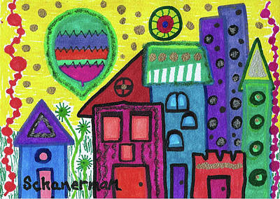 Drawing - Celebration City by Susan Schanerman