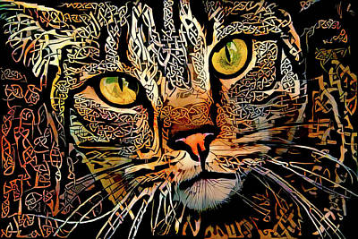 Digital Art - Celtic Knot Cat Art by Peggy Collins