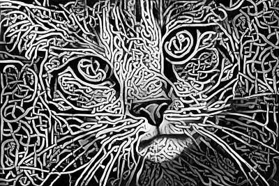 Digital Art - Celtic Knot Tabby Cat - Black And White Version by Peggy Collins