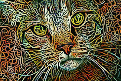Digital Art - Celtic Knot Tabby Cat - Multicolor Version by Peggy Collins