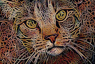 Digital Art - Celtic Knot Tabby Cat by Peggy Collins