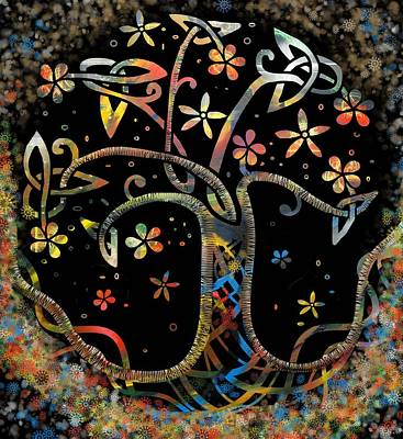 Flower Wall Art - Mixed Media - Celtic Tree Of Life by Joan Stratton