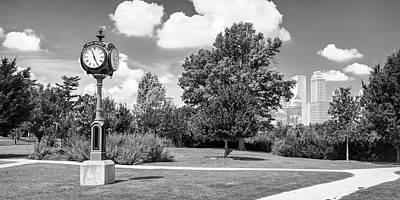 Photograph - Centennial Park Clock And Tulsa Skyline Panorama - Monochrome by Gregory Ballos