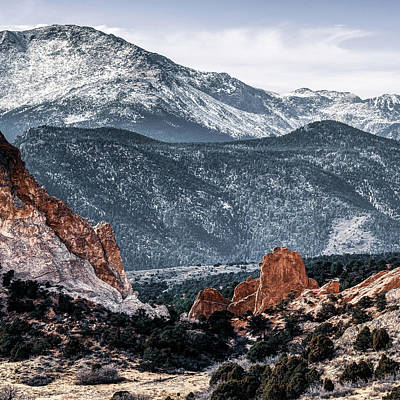 Landscapes Royalty-Free and Rights-Managed Images - Center Panel 2 of 3 - Pikes Peak Panoramic Mountain Landscape with Garden of the Gods by Gregory Ballos