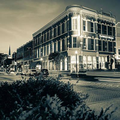 Grateful Dead - Central and Main Bentonville Arkansas Skyline 1x1 Sepia by Gregory Ballos