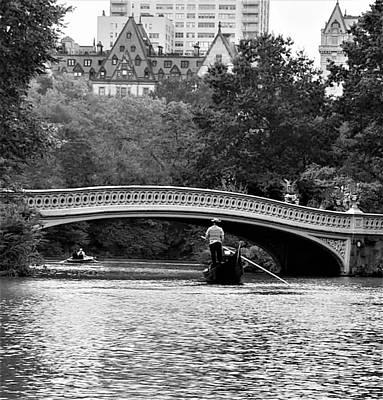 Photograph - Central Park Gondola B W  by Rob Hans