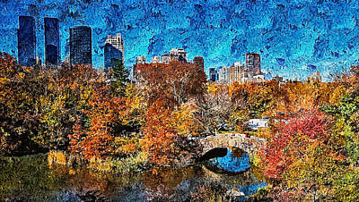 Painting - Central Park, New York - 08 by Andrea Mazzocchetti