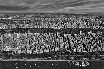 Photograph - Central Park Nyc Aerial Bw by Susan Candelario