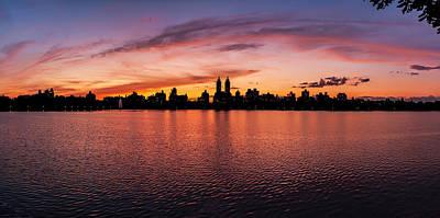 Shark Art - Central Park Reservoir Panorama Facing West at Sunset by Robert Ullmann