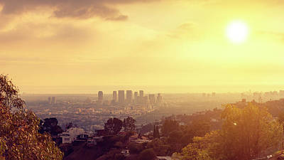 Digital Art - Century City skyline view at sunset in west Los Angeles valley area from Runyon Canyon. West LA hill by Tanel Murd