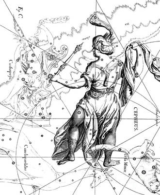 Drawing - Cepheus, The Boreal Constellation Of The King Of Ethiopia Or The Father Of Andromeda by Johann Hevelius