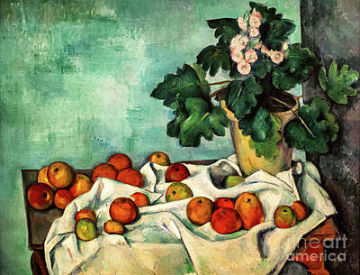 Painting - Cezanne Still Life With Apples And A Pot Of Primroses by Paul Cezanne