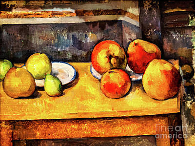 Painting - Cezanne Still Life With Apples And Pears by Paul Cezanne