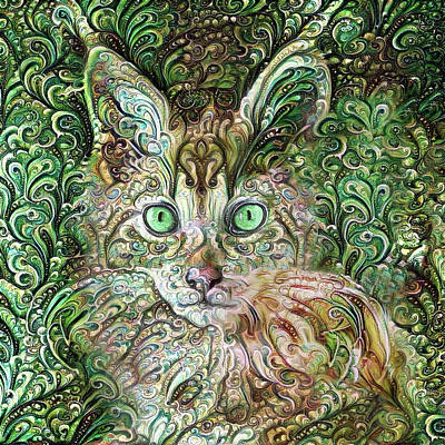 Digital Art - Cha Cha The Maine Coon Cat 1 by Peggy Collins