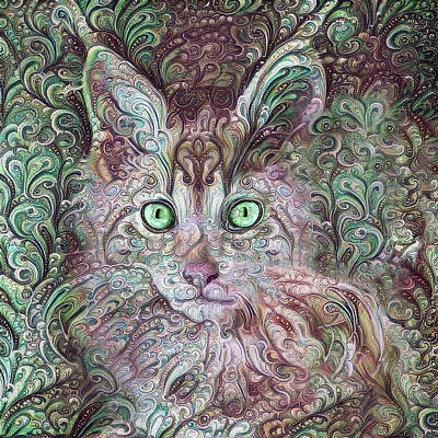Digital Art - Cha Cha The Maine Coon Cat by Peggy Collins