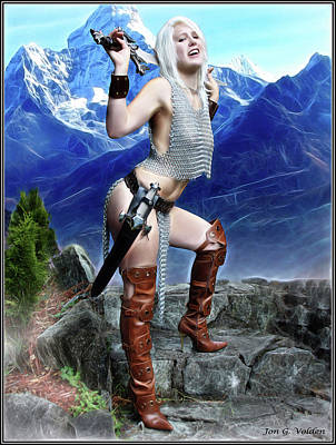 Photograph - Chain Mail Bikini With Sword by Jon Volden