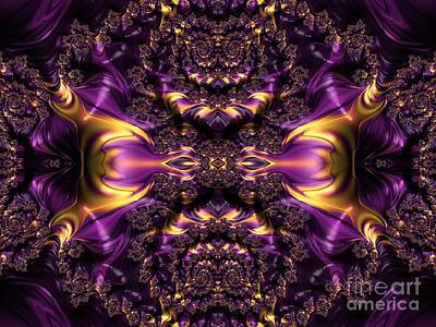 Digital Art - Chained Dragons Condemned  To Battle In Hells Fiery Furnace Fractal Abstract by Rose Santuci-Sofranko