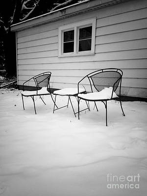Frank J Casella Royalty-Free and Rights-Managed Images - Chairs and Snow - Black and White by Frank J Casella