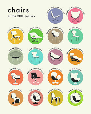 Colorful Digital Art - Chairs Of The 20th Century by Jazzberry Blue
