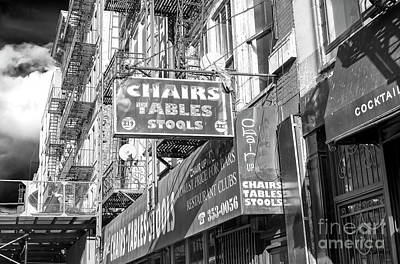Photograph - Chairs Tables Stools New York City by John Rizzuto