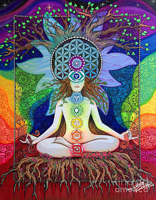 Drawing - Chakras by Julie Oakes