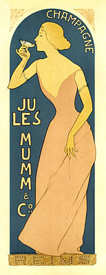Painting - Champagne Jules Mumm And Co. Vintage French Advertising by Vintage French Advertising