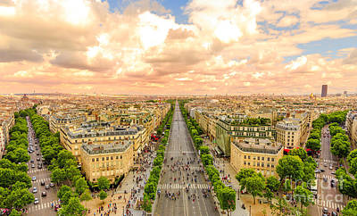 Photograph - Champs Elysees Panorama by Benny Marty