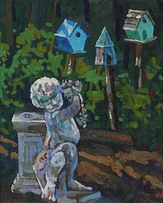 Painting - Chantry Breezes Bird House Cherub by Phil Chadwick