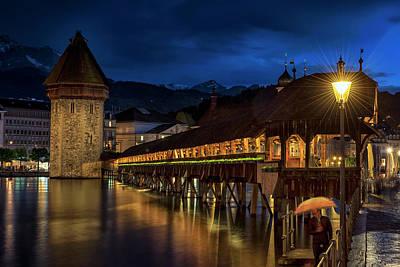 Photograph - Chapel Bridge From The Left Side by Liran Eisenberg