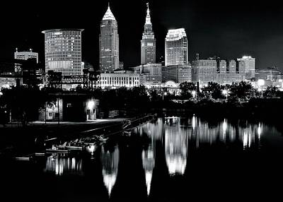Sports Royalty-Free and Rights-Managed Images - Charcoal Night View of Cleveland by Frozen in Time Fine Art Photography