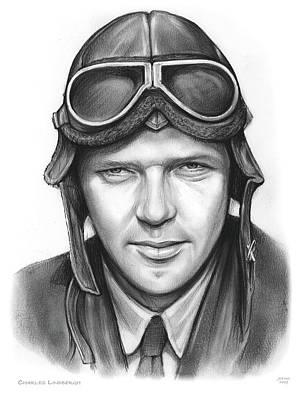 Drawings - Charles Lindbergh by Greg Joens