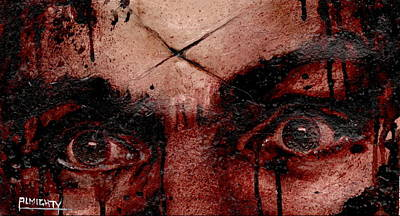 Painting - CHARLES MANSONS EYES dry blood by Ryan Almighty