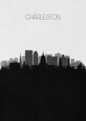 Digital Art - Charleston Cityscape Art by Inspirowl Design