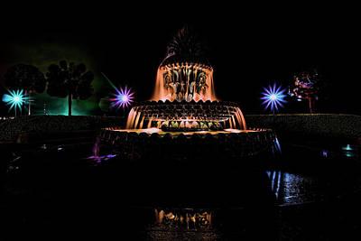Photograph - Charleston's Pineapple Fountain At Night by Sven Brogren