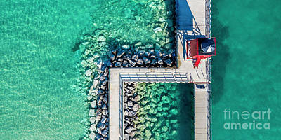 Royalty-Free and Rights-Managed Images - Charlevoix Lighthouse and Pier Aerial by Twenty Two North Photography