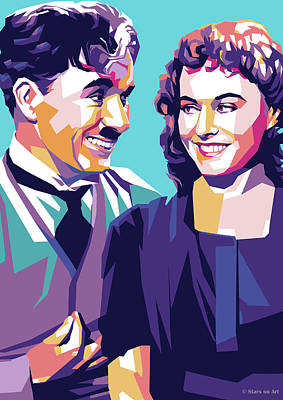 Digital Art Royalty Free Images - Charlie Chaplin and Paulette Goddard Royalty-Free Image by Stars on Art