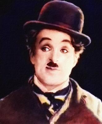 Painting - Charlie Chaplin, Portrait by Vincent Monozlay