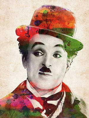 Comics Royalty-Free and Rights-Managed Images - Charlie Chaplin watercolor portrait by Mihaela Pater
