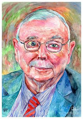 Harvard Wall Art - Painting - Charlie Munger Portrait by Suzann's Art
