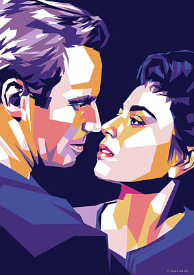 Classic Cocktails - Charlton Heston and Haya Harareet by Stars on Art