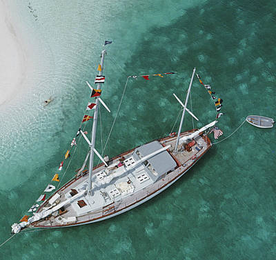 Exuma Photograph - Charter Ketch by Slim Aarons