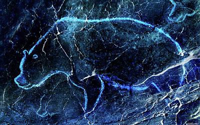 Digital Art - Chauvet Cave Bear 3 - Negative by Weston Westmoreland