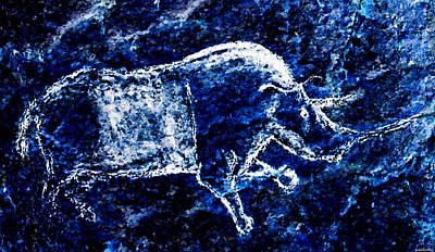 Digital Art - Chauvet Rhinoceros - Negative by Weston Westmoreland