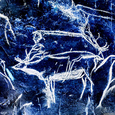 Digital Art - Chauvet Two Deer - Negative by Weston Westmoreland