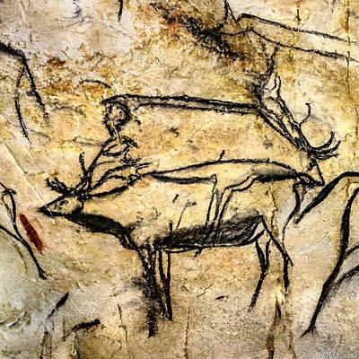 Digital Art - Chauvet Two Deer by Weston Westmoreland