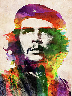 Digital Art Rights Managed Images - Che Guevara colorful watercolor portrait Royalty-Free Image by Mihaela Pater