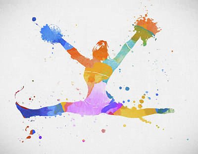 Painting - Cheerleader Paint Splatter by Dan Sproul