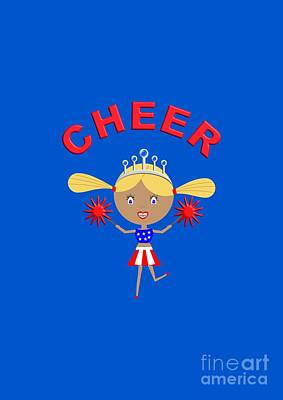 Digital Art -  Cheerleader With Pom Poms And Cheer In Arched Text  by Barefoot Bodeez Art