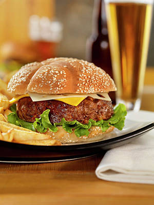 Pub Photograph - Cheeseburger With Fries And A Beer by Lauripatterson