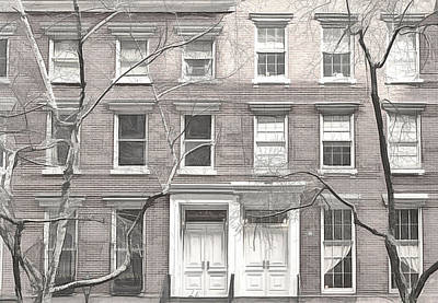 Photograph - Chelsea Brownstones Sketch by Alison Frank